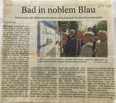 Presse: Bad in noblem Blau<span> • Quelle: TA 2.5.2019</span>